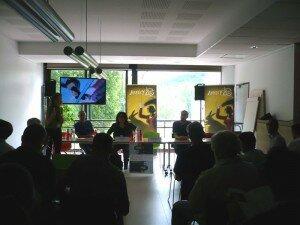 La petite salle pour les conférences presse des longs métrages en contre-jour, c'est ballot...